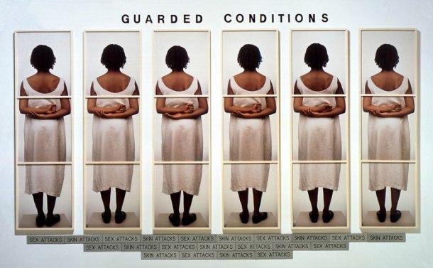 Guarded Condition, 1989, 18 color Polaroids, plastic letters, 21 engraved plastic plaques.