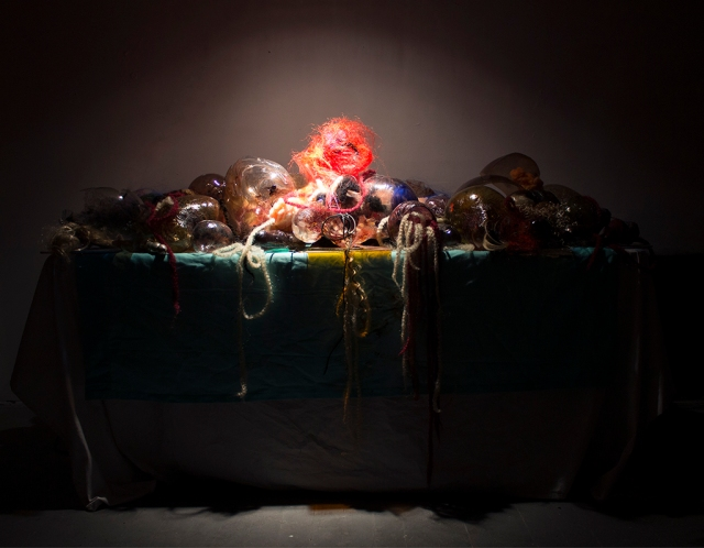 Spread, Glass Installation, 6ft x 2 ft, 2013